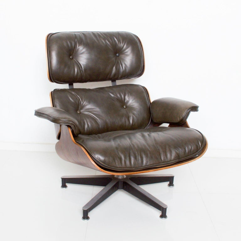 Eames for Herman Miller Dark Green Leather Lounge Chair and Ottoman For Sale 1