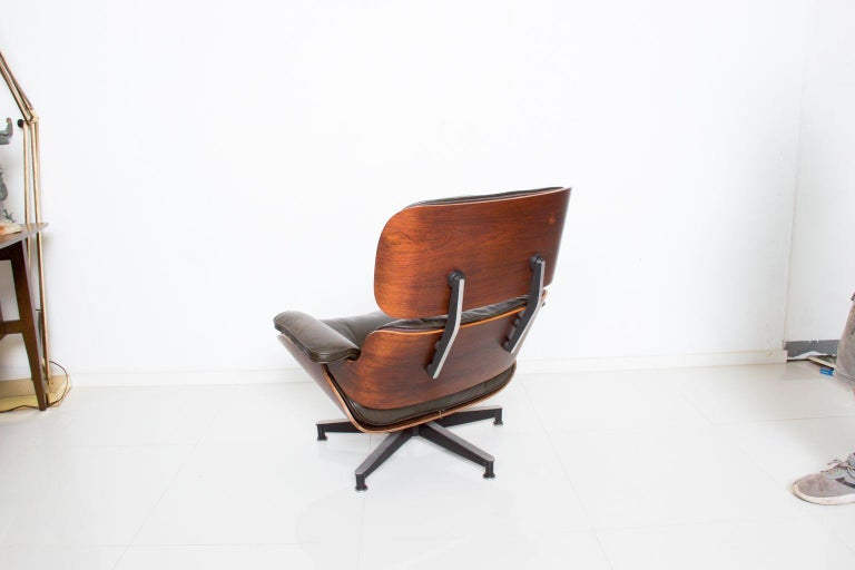 Eames for Herman Miller Dark Green Leather Lounge Chair and Ottoman For Sale 2