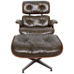 Eames for Herman Miller Dark Green Leather Lounge Chair and Ottoman