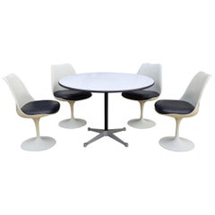 Eames for Herman Miller Dining Table with Eero Saarinen Knoll Tulip Chairs
