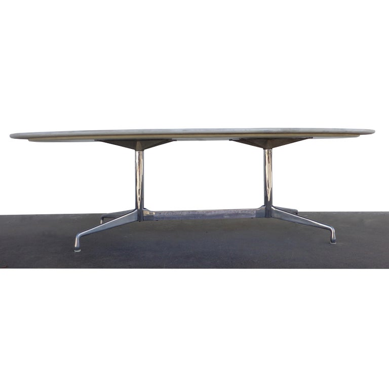 American 8FT Eames for Herman Miller Executive Series Marble-Top Chrome Base Table For Sale