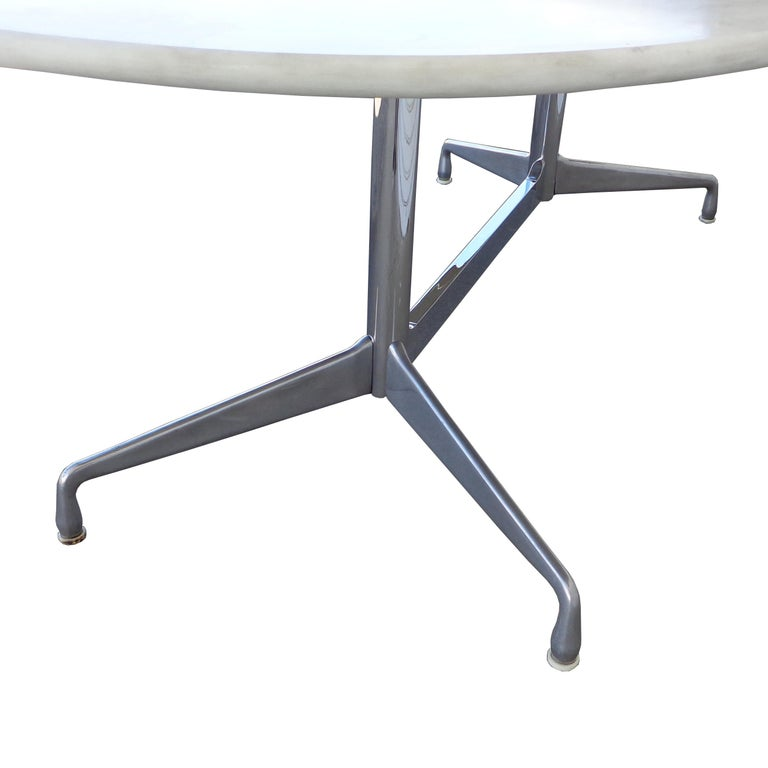 8FT Eames for Herman Miller Executive Series Marble-Top Chrome Base Table In Good Condition For Sale In Pasadena, TX