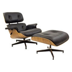 Eames for Herman Miller Midcentury Lounge Chair in Walnut with Ottoman