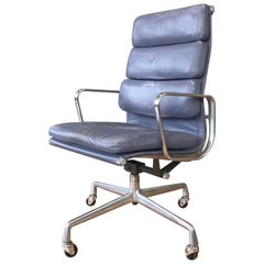 Eames for Herman Miller Periwinkle Leather Soft Pad Executive Chair, 1985
