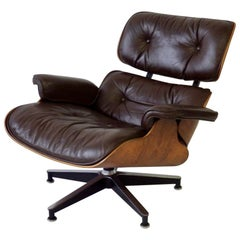 Eames for Herman Miller Rosewood Shell with Brown Leather 670 Lounge Chair