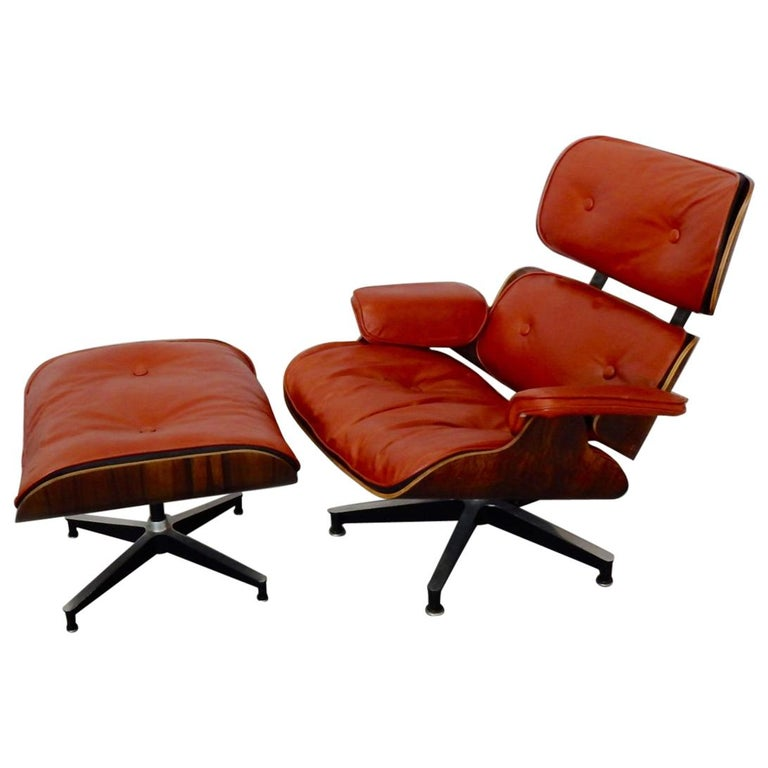 Eames For Herman Miller Rosewood With Red Leather 670 Lounge Chair And Ottoman
