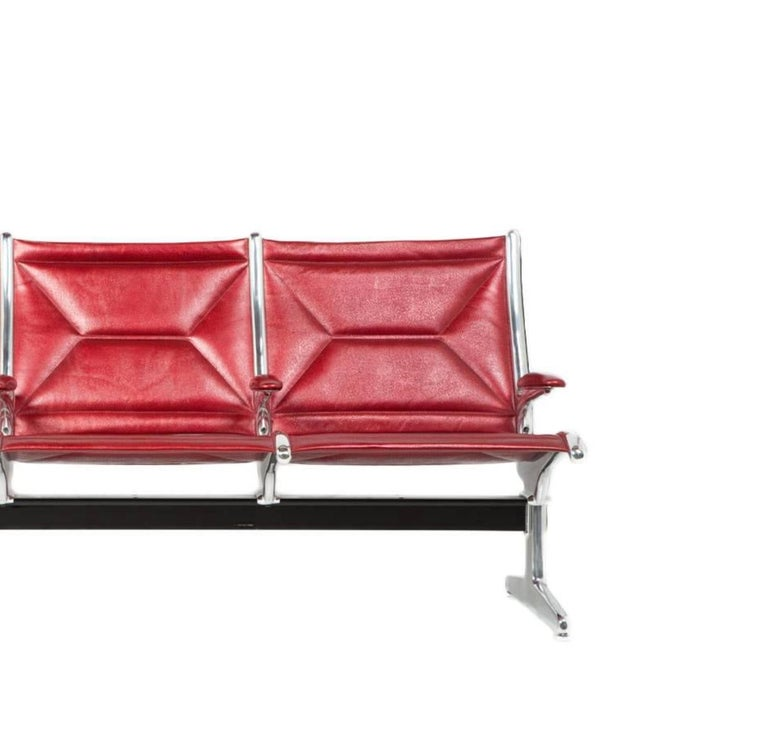 Eames for Herman Miller Tandem Sling Bench in Red Edelman Leather In Excellent Condition For Sale In Los Angeles, CA