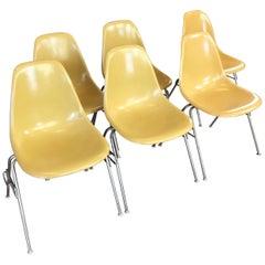 Eames für Herman Miller Vintage Ocker DSS Sitzschalen, 6er-Set