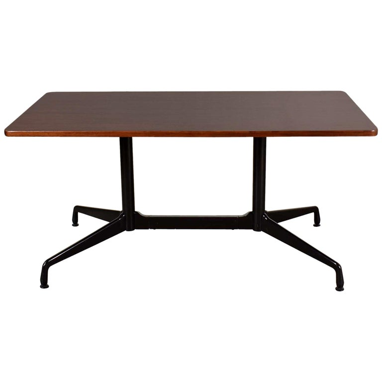 Eames Herman Miller Aluminum Group Conference or Dining Table Rosewood and Black For Sale
