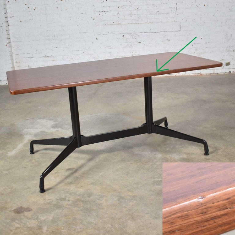 Eames Herman Miller Aluminum Group Conference or Dining Table Rosewood and Black For Sale 2
