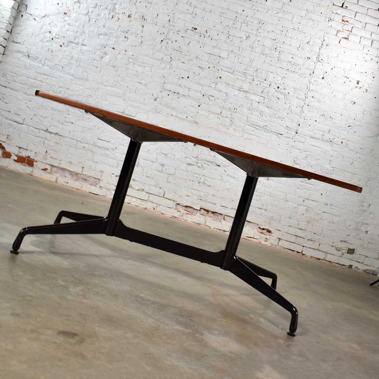 American Eames Herman Miller Aluminum Group Conference or Dining Table Rosewood and Black For Sale