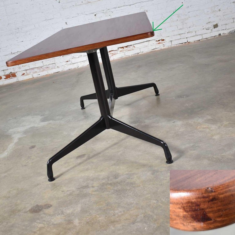 Eames Herman Miller Aluminum Group Conference or Dining Table Rosewood and Black For Sale 1