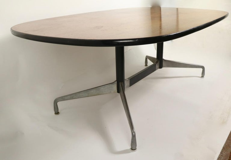 Eames Herman Miller Aluminum Group Conference Table with Rosewood Top For Sale 6