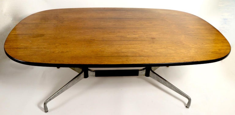 Mid-Century Modern Eames Herman Miller Aluminum Group Conference Table with Rosewood Top For Sale