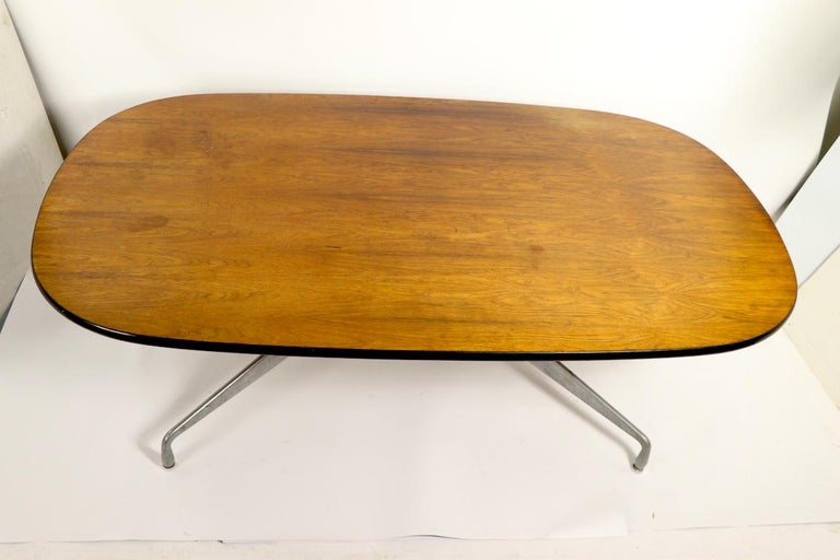 20th Century Eames Herman Miller Aluminum Group Conference Table with Rosewood Top For Sale