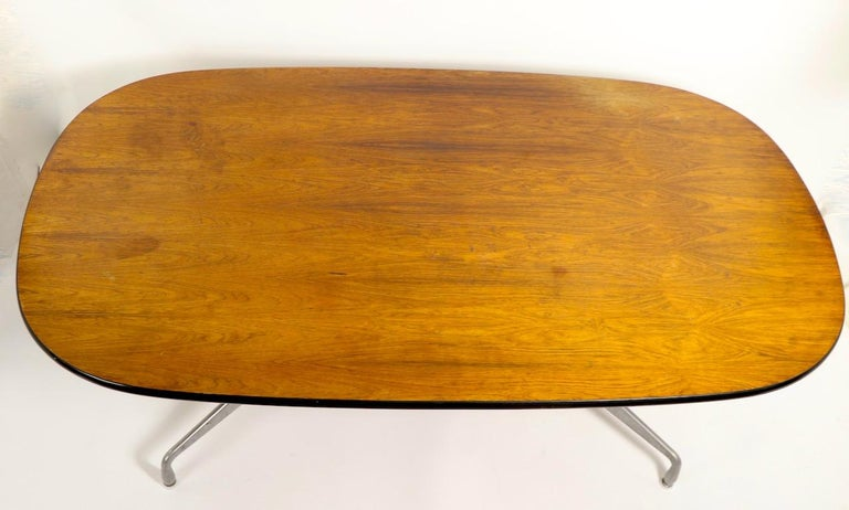 Eames Herman Miller Aluminum Group Conference Table with Rosewood Top For Sale 1
