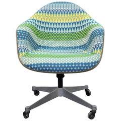 Eames Herman Miller Fiberglass Rolling Shell Chair Alexander Girard Style Fabric