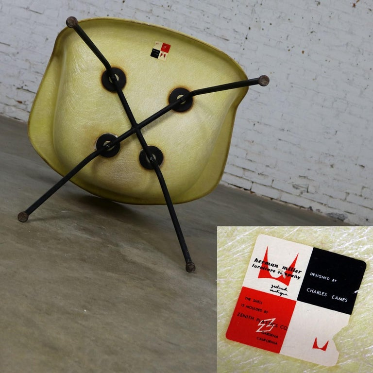 Eames Herman Miller LAX Fiberglass Arm Shell Chair X Base Zenith Rope Edge For Sale 6