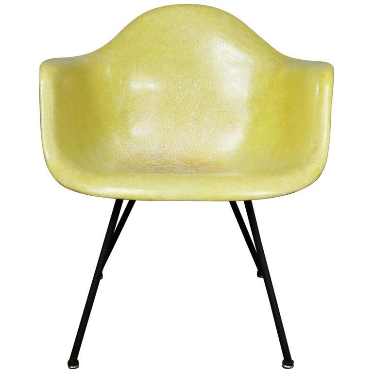Eames Herman Miller LAX Fiberglass Arm Shell Chair X Base Zenith Rope Edge For Sale