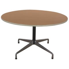 Eames Herman Miller Round Table Universal Base Wood Grain Laminate Top