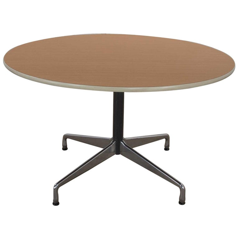 Eames Herman Miller Round Table Universal Base Wood Grain Laminate Top For Sale