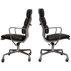 Eames Highback Softpad Management Chairs in Brown Leather for Herman Miller USA