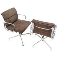 Eames ICF Soft Pad Aluminum Swivel Desk Armchair Midcentury