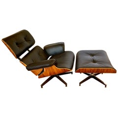 Eames Iconic Herman Miller Style Lounge Chair and Ottoman Black Leather