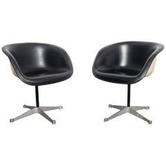 Mid Century Modern American Black Vinyl Eames La Fonda, Swivel Chair 1960