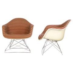 Eames LAR Lounge Chairs with Original Alexander Girard Fabric, Herman Miller