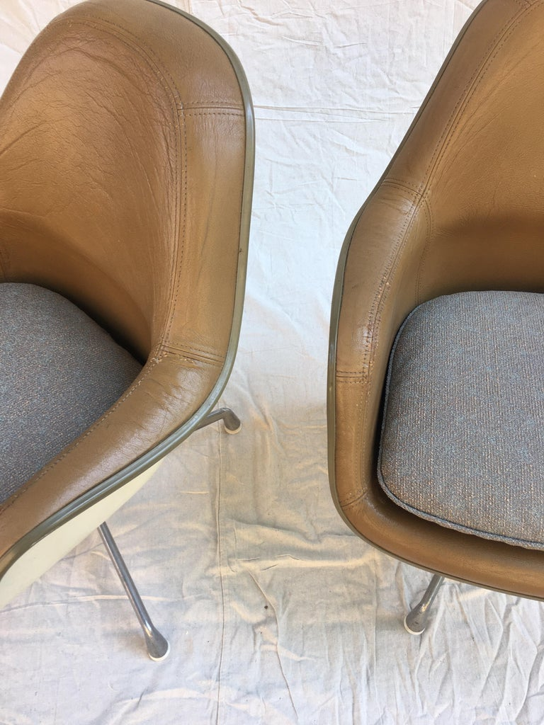 Eames Leather High Back Chairs For Sale 6