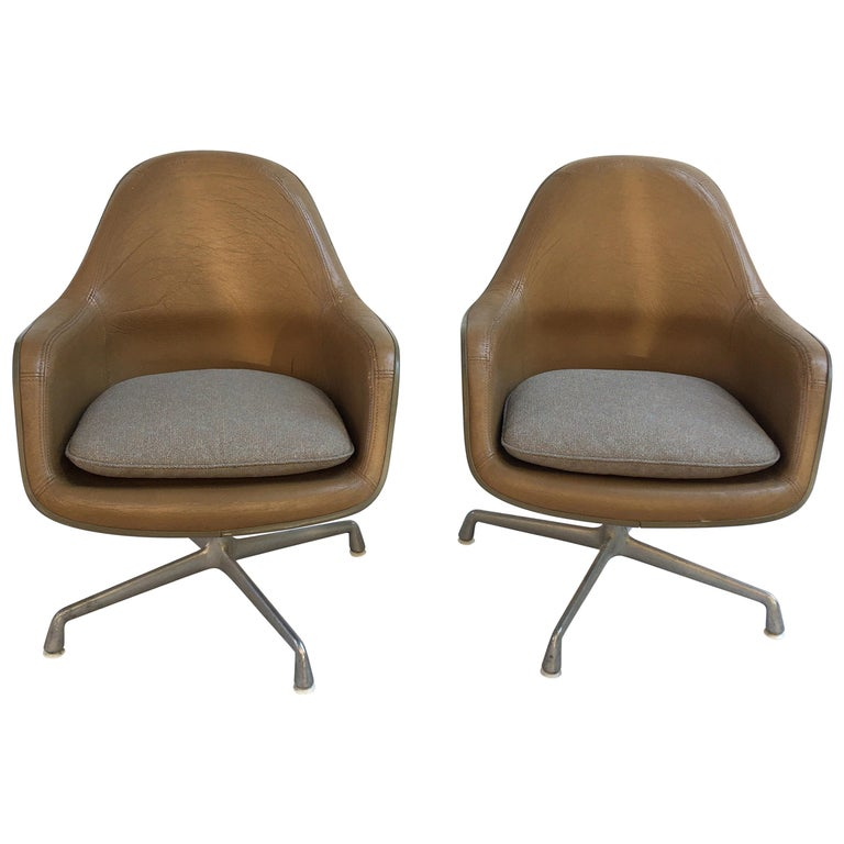 Eames Leather High Back Chairs For Sale