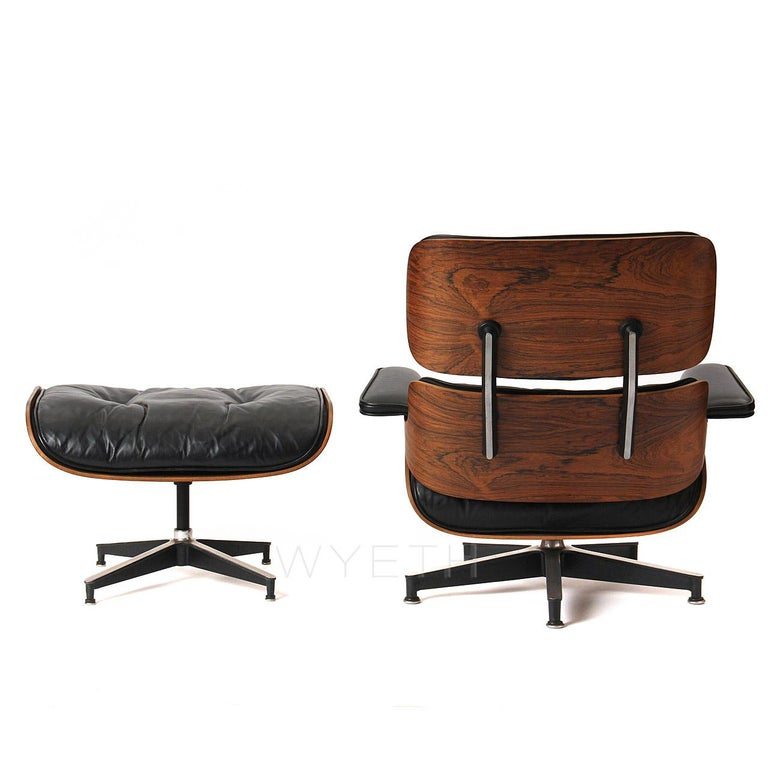 American Eames Leather Lounge Chair and Ottoman For Sale