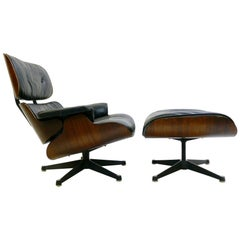 Eames Lounge Chair and Ottoman, 1st Edition, Plywood and Goose Feather, 1956