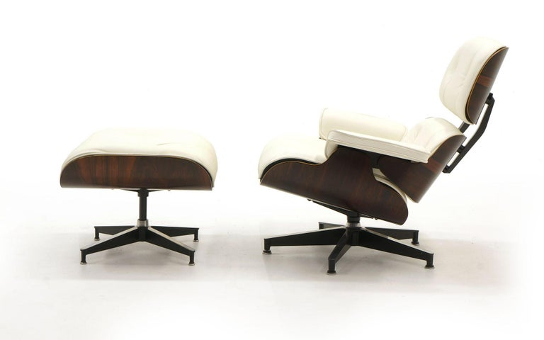 Astounding Eames Lounge Chair And Ottoman Early Rosewood New Herman Miller White Leather Bralicious Painted Fabric Chair Ideas Braliciousco