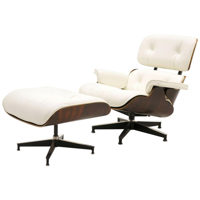 Eames Lounge Chair And Ottoman Early Rosewood New Herman Miller White Leather For