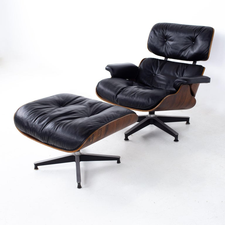 Eames mid century lounge chair and ottoman Chair measures: 33 wide x 33 deep x 32 high, with a seat height of 17 inches and arm height of 19 inches  Ottoman measures: 26 wide x 23 deep x 16 inches high  All pieces of furniture can be had in what