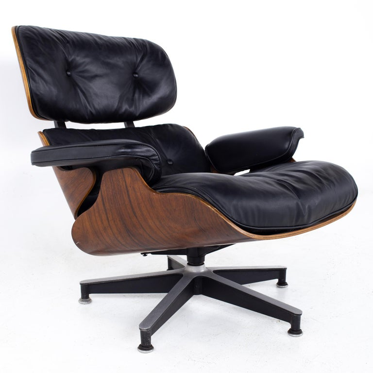 Metal Eames Mid Century Lounge Chair and Ottoman For Sale