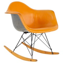 Eames Mid Century Orange Fiberglass Shell Rocking Chair