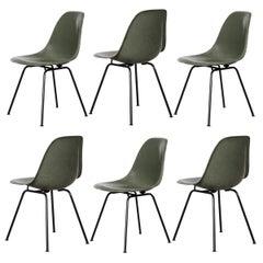 Eames Olive Green Dark DSX Dining Chair Set for Herman Miller