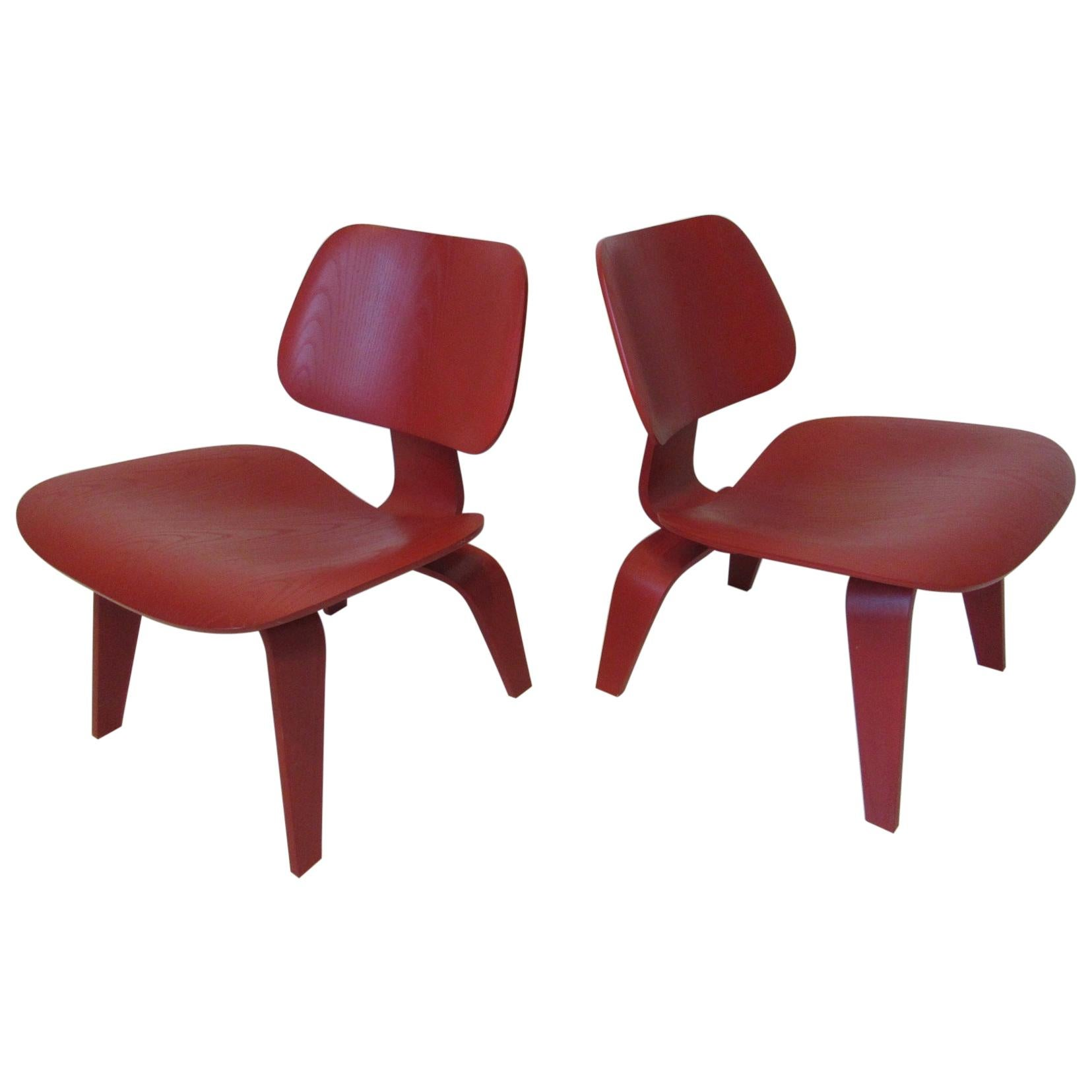 Eames Red LCW Lounge Chairs for Herman Miller