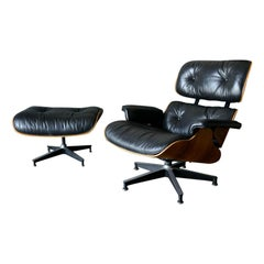 Eames Rosewood 670 Lounge Chair and 671 Ottoman, ca. 1971