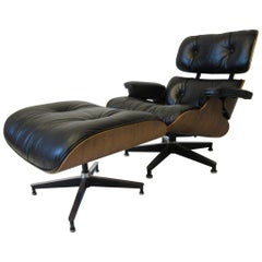 Eames Rosewood and Leather 670 Lounge Chair with Ottoman