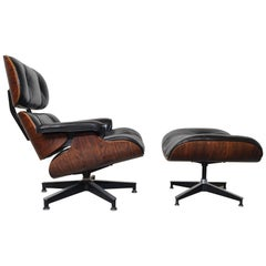 Eames Rosewood Lounge Chair and Ottoman by Herman Miller, circa 1970