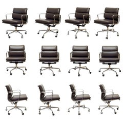 Eames Soft Pad Leather Office Management Chairs by Herman Miller