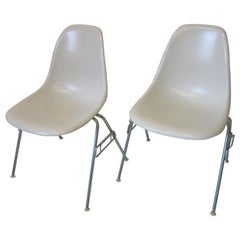 Eames Stacking Fiberglass Side Chairs for Herman Miller