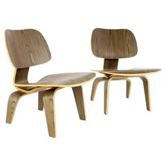 Eames Style LCW Mid Century Occasional Lounge Chairs, a Pair