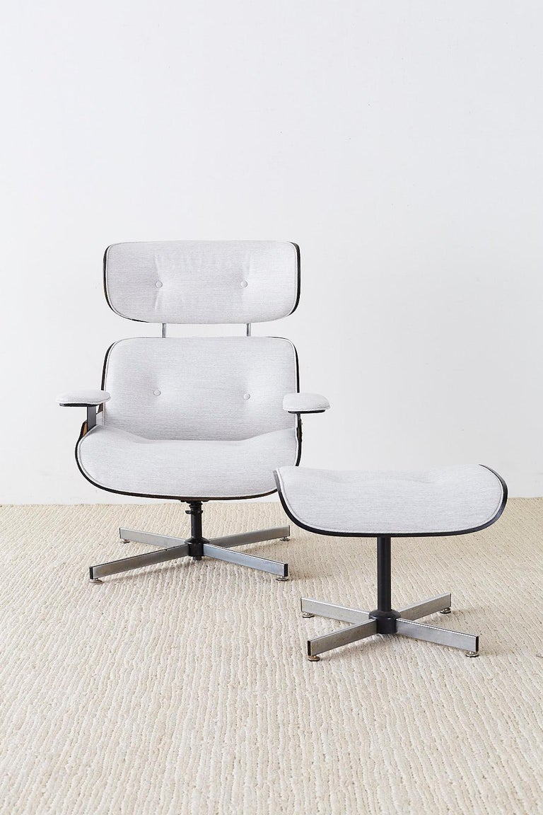 Eames Style Lounge Chair and Ottoman by Plycraft For Sale 8