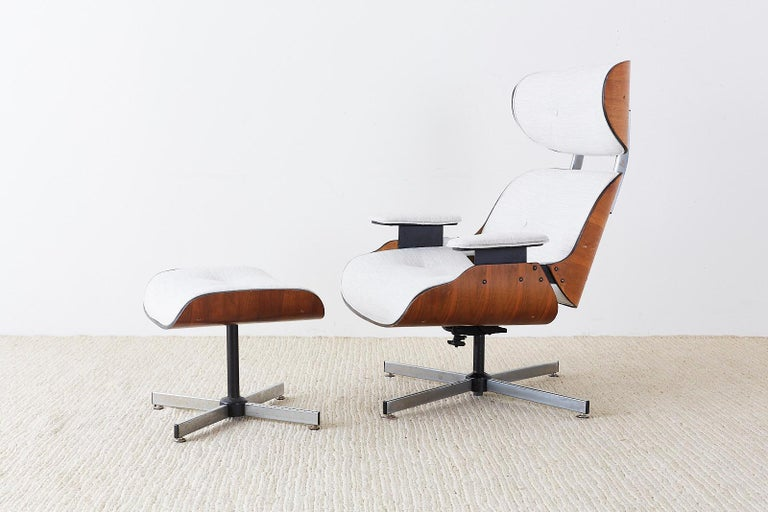 Eames Style Lounge Chair and Ottoman by Plycraft For Sale 9