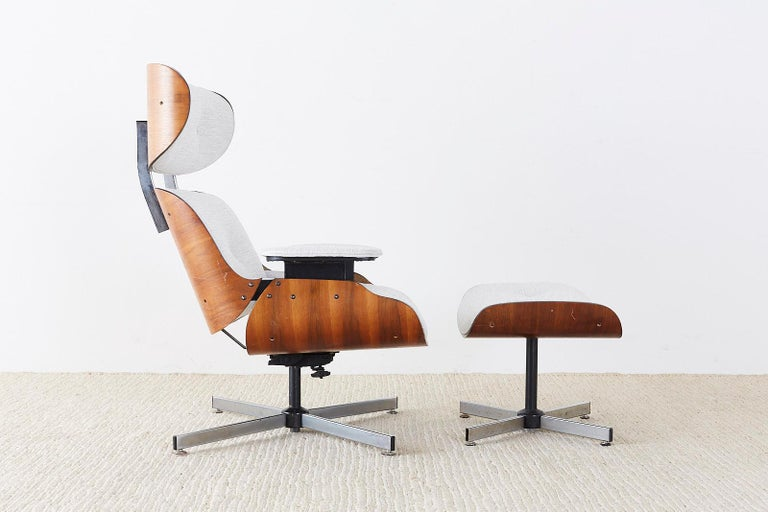 Mid-Century Modern Eames Style Lounge Chair and Ottoman by Plycraft For Sale